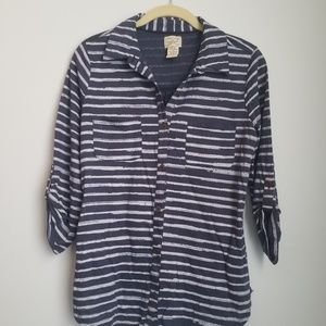 Eyelash couture striped button down shirt